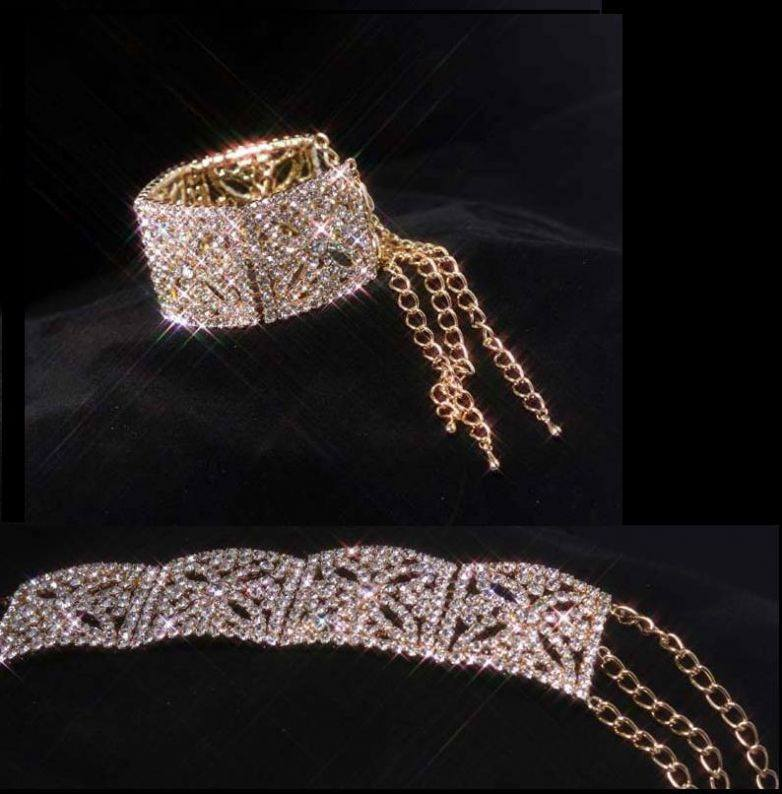 Royal Queen Gold Rhinestone Bracelet, CrownDesigners