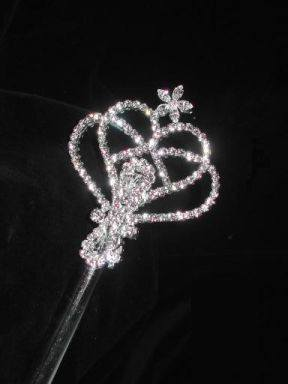 Royal Heart Rhinestone Silver Scepter