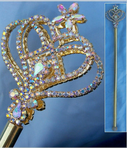 Aurora Borealis Rhinestone Enchanted Rainbow Princess Scepter, Gold Edition, CrownDesigners
