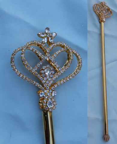 Royal Heart Rhinestone Gold Scepter, CrownDesigners