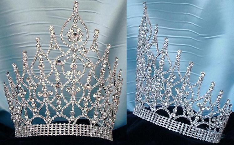 Large Beauty Pageant Rhinestone Adjustable silver crown - CrownDesigners