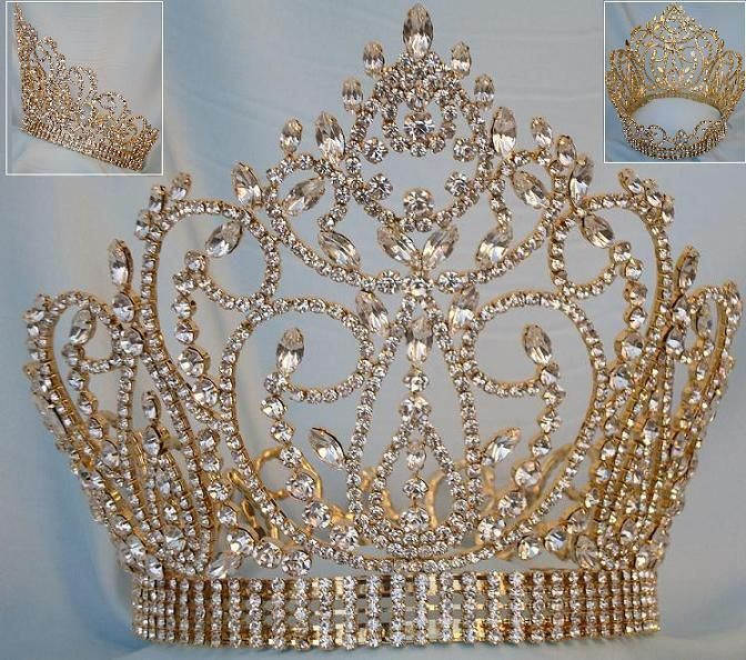 Miss American Beauty Full Gold Rhinestone Pageant Crown, CrownDesigners