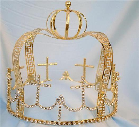 Bizantyne Style Gold Mens Regal Rhinestone Crown, CrownDesigners