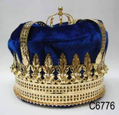 Imperial State Mens King Rhinestone Gold and Blue Crown - CrownDesigners