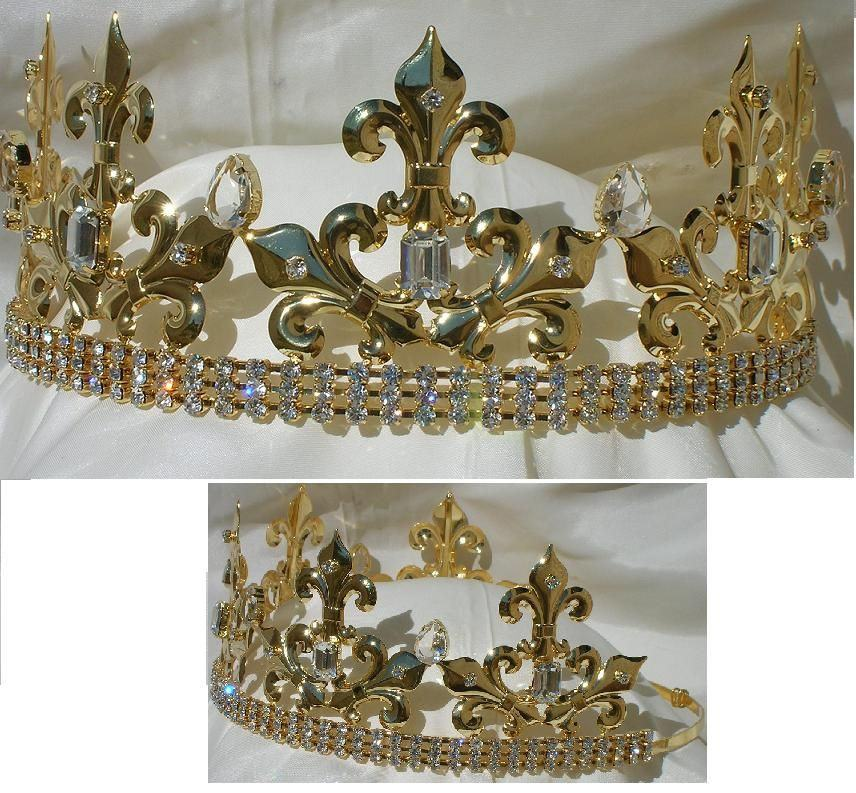 Rothwell Gold Adjustable Unisex Rhinestone Crown Tiara, CrownDesigners