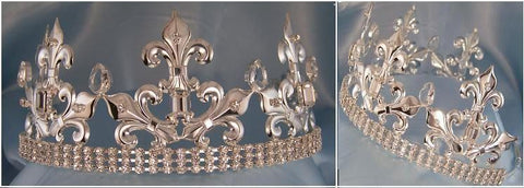 Rothwell Silver Adjustable Unisex Rhinestone Crown Tiara - CrownDesigners