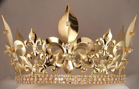 Mens Imperial Medieval Gold Rhinestone King Crown