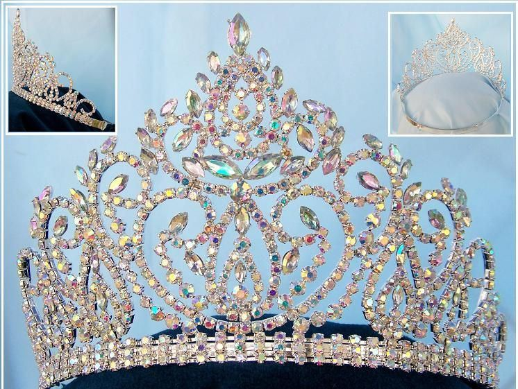 Beauty pageant Aurora Borealis adjustable crown tiara, CrownDesigners