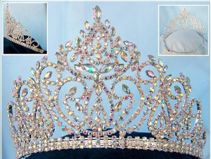 Beauty pageant Aurora Borealis adjustable crown tiara - CrownDesigners