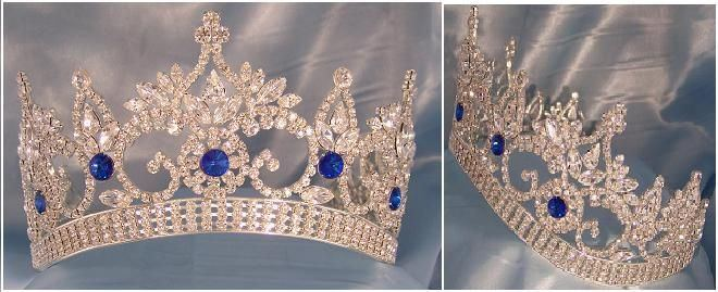 Continental Adjustable Contoured Rhinestone Blue Sapphire Crown Tiara, CrownDesigners