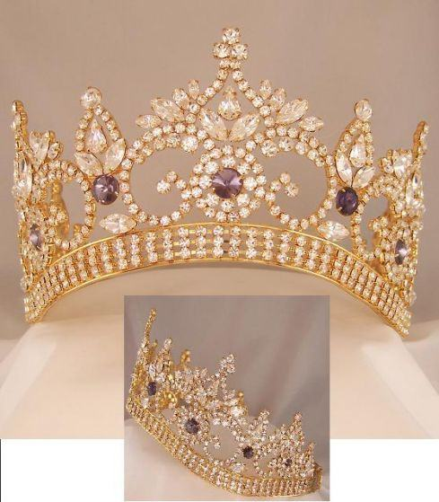 Continental Premium Gold Amethyst Contoured Crown Tiara, CrownDesigners