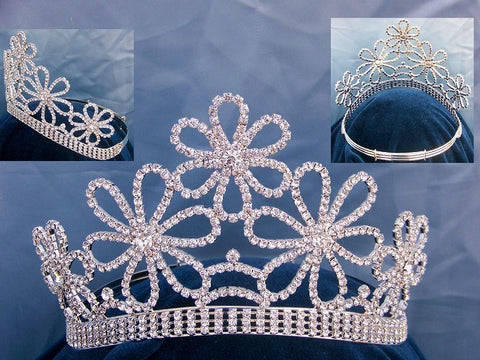 Beauty Pageant Queen Princess rhinestone floral Queen Tiara - CrownDesigners