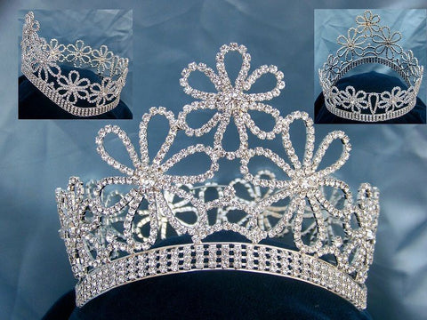 Beauty Pageant Contoured Rhinestone  Full Silver Crown Tiara - CrownDesigners