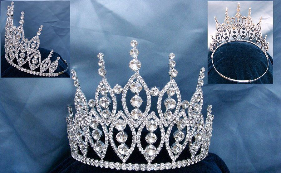 Queen of The 7 Seas Rhinestone Adjustable Crown Tiara - CrownDesigners
