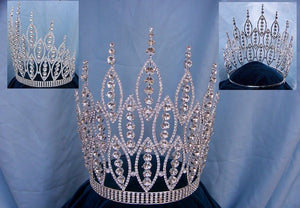 Queen of The Seven Seas Large Adjustable Silver Crown Tiara - CrownDesigners