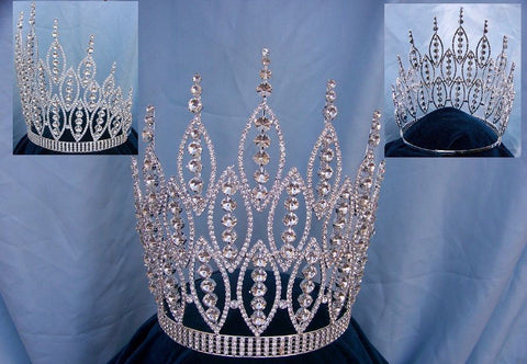 Queen of The Seven Seas Large Adjustable Silver Crown Tiara, CrownDesigners