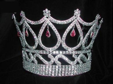 Beauty Pageant Queen Rhinestone Royal Pink Crown Tiara - CrownDesigners