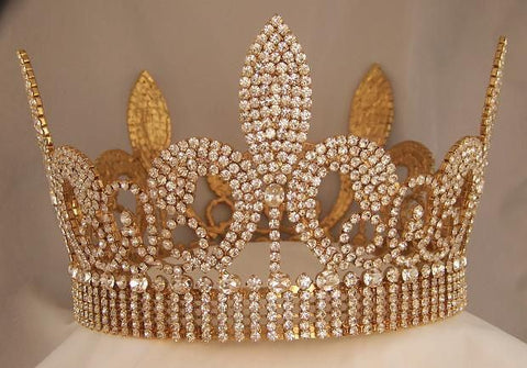 Rhinestone Beauty Pageant Unisex Fleur D'lis Imperial Full Crown - CrownDesigners
