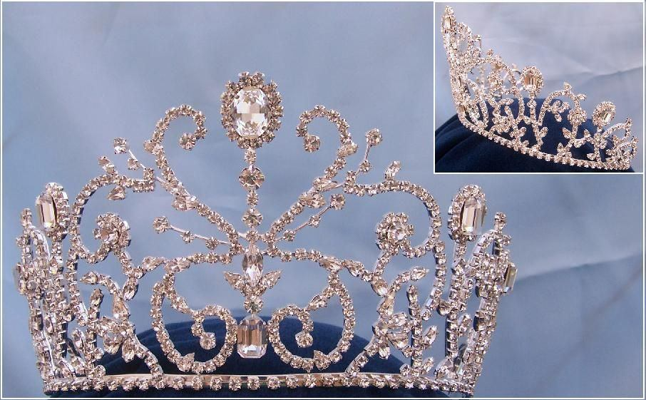 Adjustable Rhinestone Silver Princess Olga Crown Tiara - CrownDesigners