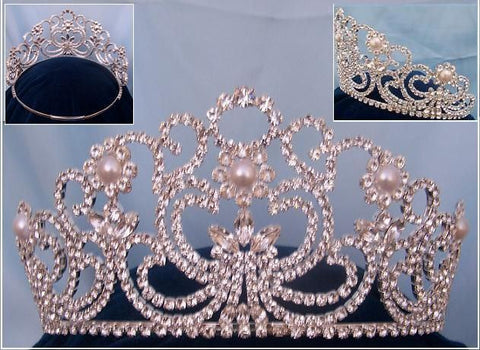 Adjustable Rhinestone Silver Savoy pearl crown tiara, CrownDesigners