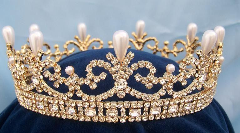 Queen Victoria Regal Gold Full Rhinestone Crown, CrownDesigners