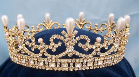 Queen Victoria Regal Gold Full Rhinestone Crown - CrownDesigners