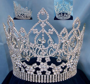 Beauty Pageant Queen Rhinestone silver Full Crown - CrownDesigners