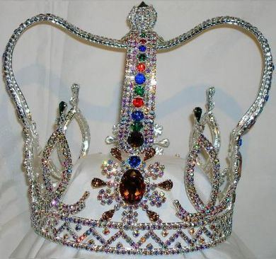 The Royal Stanislaus Crown King Full Mens Rhinestone Silver Crown, CrownDesigners