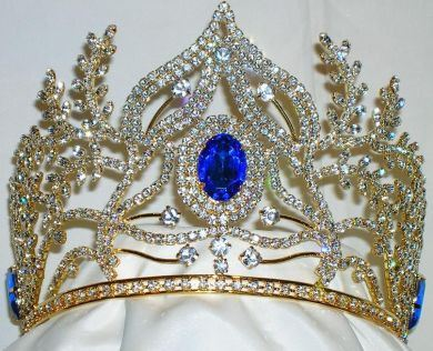 Beauty Pageant Rhinestone Queen Ceremonial Gold Crown Tiara - CrownDesigners