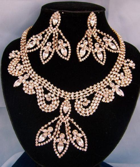 Divine Divas Pageant Jewelry Gold Necklace and Earrings Set XII, CrownDesigners