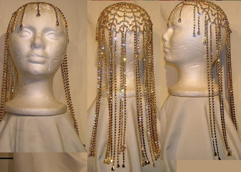 Studio 54 Rhinestone Gold with clear stones Hairpiece - CrownDesigners
