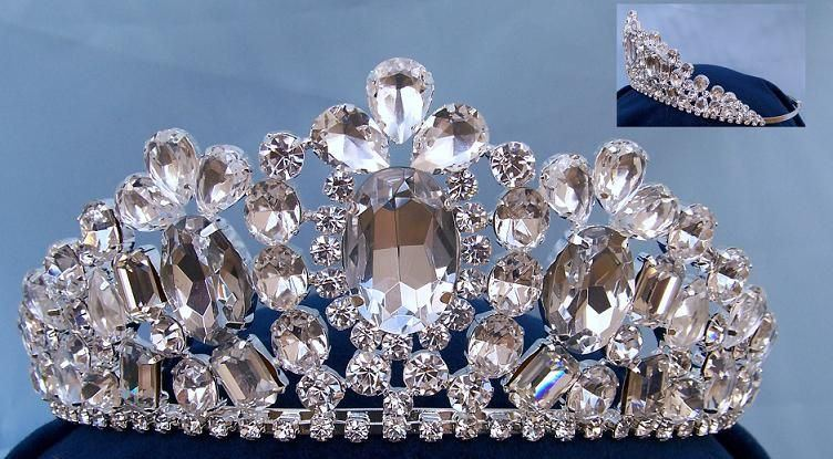 Empress of Iran Royal Rhinestone Silver Tiara, CrownDesigners