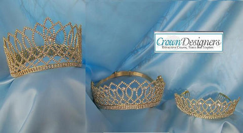 Beauty Pageant Rhinestone Gold Crown and Tiaras 3 PCS Combo, CrownDesigners