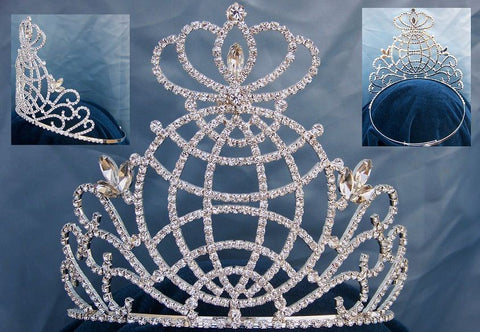 Global World International Rhinestone Pageant Crown tiara