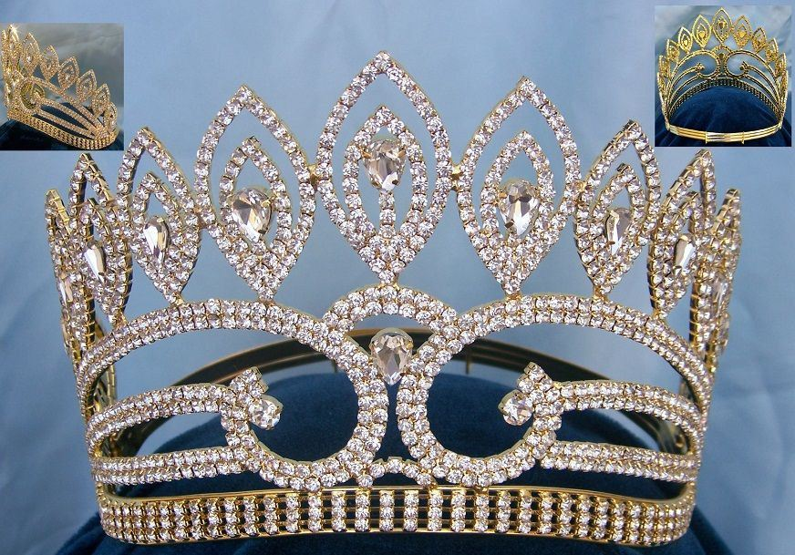 Dutchess Adelle Rhinestone Adjustable Contoured Gold Pageant Crown Tiara - CrownDesigners - K-343-G