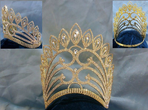Enchanted Empress Regal Rhinestone Contoured Gold Pageant Crown - CrownDesigners