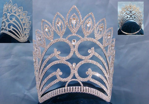 Enchanted Empress Regal Rhinestone Contoured Pageant Crown - CrownDesigners