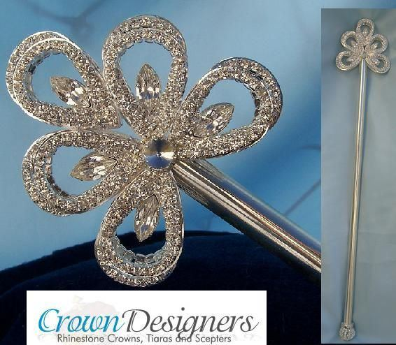 Royal Silver Wave Rhinestone Scepter - CrownDesigners