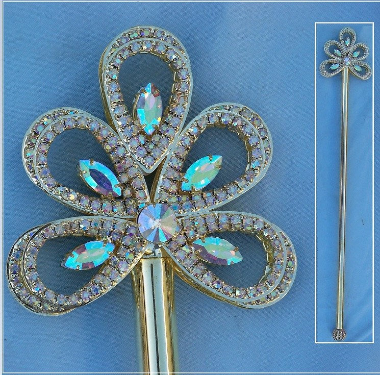 Royal Gold Wave Rhinestone Scepter Aurora Borealis - CrownDesigners