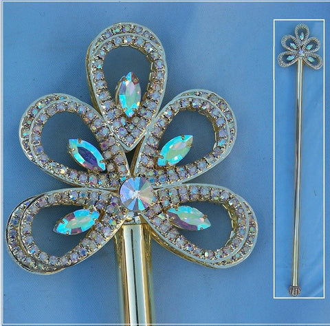 Royal Gold Wave Rhinestone Scepter Aurora Borealis, CrownDesigners