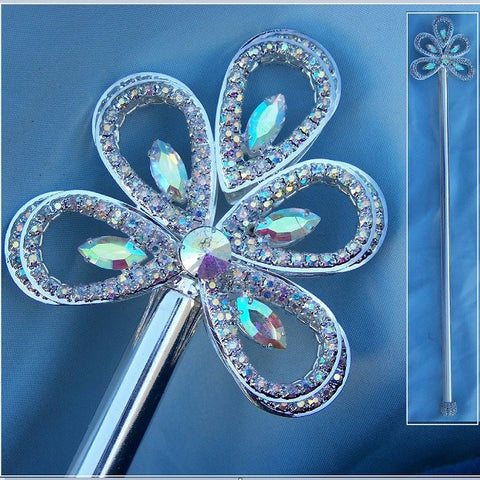 Royal Silver Wave Rhinestone Scepter Aurora Borealis - CrownDesigners