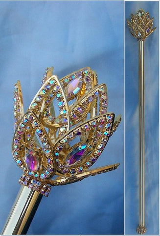 AURORA BOREALIS IMPERIAL ROYAL FLEUR RHINESTONE GOLD SCEPTER, CrownDesigners