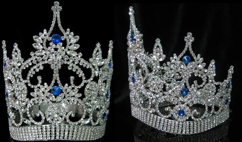 Continental Adjustable Contoured Blue Sapphire Crown Tiara, CrownDesigners