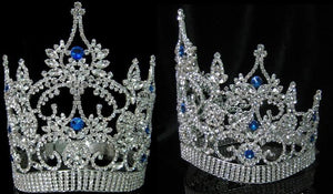 Continental Adjustable Contoured Blue Sapphire Crown Tiara - CrownDesigners