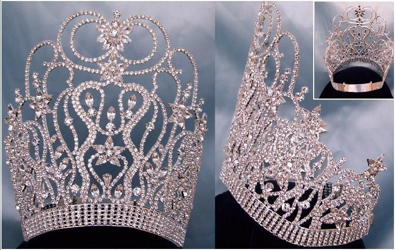 Round the World Adjustable Contoured Rhinestone Crown Tiara, CrownDesigners