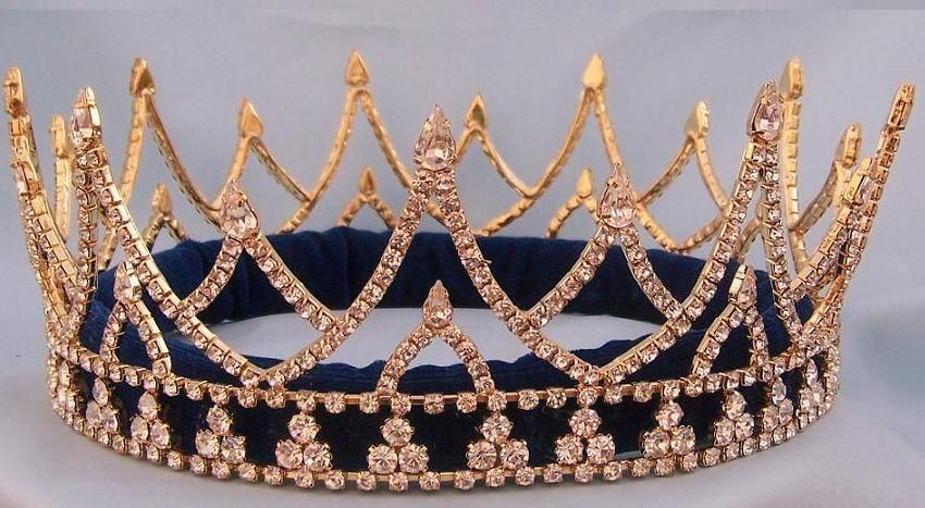 Rhinestone Regal King  Men's Rhinestone  Crown Gold The Ashbury, CrownDesigners