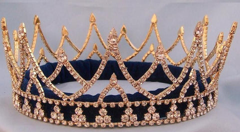 Rhinestone Regal King  Men's Rhinestone  Crown Gold The Ashbury - CrownDesigners