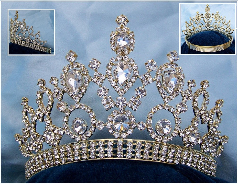 Beauty Pageant Gold Rhinestone Queen Princess Bridal Rhinestone Crown Tiara - CrownDesigners