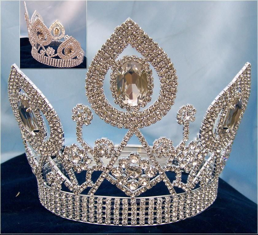 Universal World Beauty Queen Rhinestone Crown Tiara - CrownDesigners