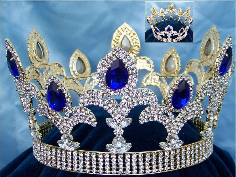 The Millenium rhinestone  UNISEX full gold Blue Sapphire  crown, CrownDesigners